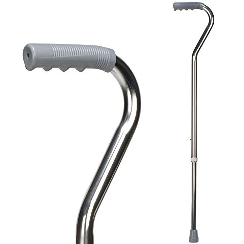 DMI Deluxe Lightweight Adjustable Walking Cane with Offset Hand Grip, Slip Resistnace, for Men and Women, Silver