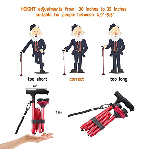 BigAlex Folding Walking Cane with LED Light,Pivoting Quad Base,Adjustable Walking Stick with Carrying Bag for Men/Women (4'9''-5'6'' Red)